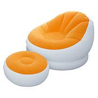 Надувное кресло с пуфом Intex 68572 Orange (gr006697)