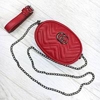 Женская бананка, поясная сумка гучи, Gucci, кроссбоди. Красная / 8808
