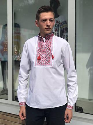 Подростковая вышиванка для мальчика с красным орнаментом, фото 2
