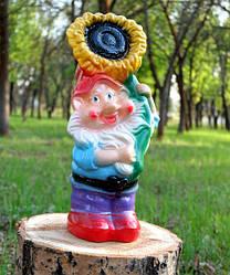 Садовый гном с подсолнухом, керамический гном для сада