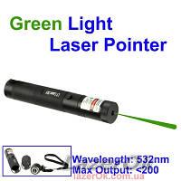 Лазерная указка 200 мВт Pro с фокусировкой - зеленая, фото 1