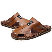 19dd6b662 Мужчины Летние кожаные сандалии Обувь Повседневный Круглый Toe Flat Fashion  Soft Пляжный Тапочки
