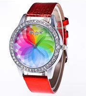 Женские кварцевые модные часы с лазерной 3d печатью и красным ремешком