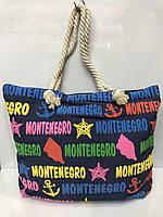 Пляжная сумка джинсовая Montenegro женская ручки канаты цветные буквы 115528 45х32х12см