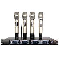 U-F4000 Professional UHF 4-канальный 4-ручный беспроводной LCD Дисплей Главная Караоке Микрофон Система