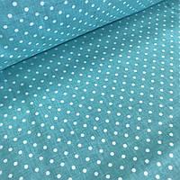 Хлопковая ткань польская белый горох на светло-бирюзовом 4 мм