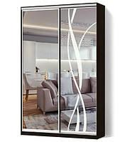Шкаф-купе Классик двухдверный фасады зеркало+зеркало с пескоструйным рисунком