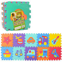 Детский Коврик Мозаика Пазл для пола Массажный EVA M 3520, 10 деталей, 6 текстур, машинки и инструменты