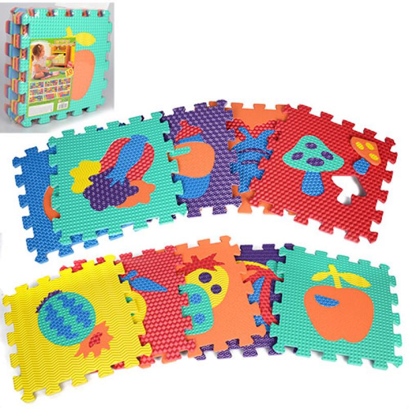 Детский Коврик Мозаика Пазл для пола Массажный EVA M 2622, 10 деталей, 6 текстур, фрукты и овощи