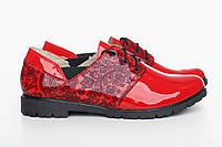 Красные стильные женские туфли 39 размера из натуральной кожи