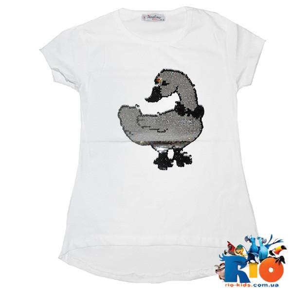 Детская футболка для девочки 9-12 лет, трикотаж с рисунком из пайеток перевертышей (4 ед. в уп.)