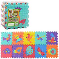 Детский Коврик Мозаика Пазл для пола Массажный EVA M 3521, 10 деталей, 6 текстур, птицы, насекомые