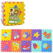 Детский Коврик Мозаика Пазл для пола Массажный EVA M 3519, 10 деталей, 6 текстур, рыбки