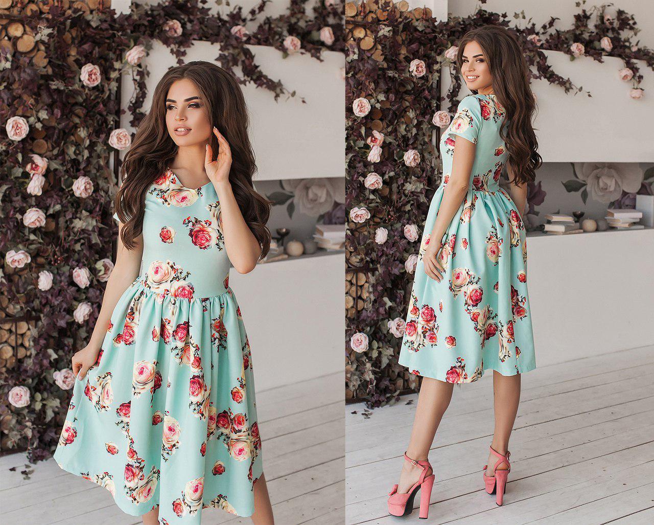 Платье свободная юбка цветочный принт