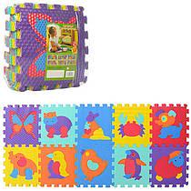 Детский Коврик Мозаика Пазл для пола Массажный EVA M 3517, 10 деталей, 6 текстур, животные