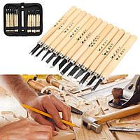 12шт Wood Carving Hand Chisel Инструмент Набор Деревообработка Профессиональные губки + Чехол - 1TopShop