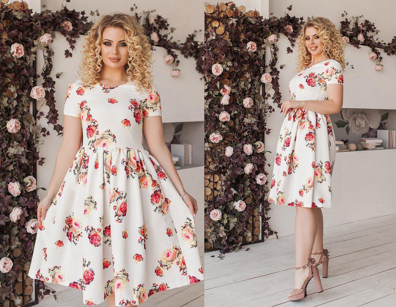 Платье цветочный принт батал