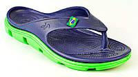 Кроксы, вьетнамки синие / зеленая подошва. Размеры 36, 37, 38, 40, 41. JoAm 118204.