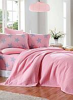 Постельное белье Пике евро BigStar розовый ранфорс Eponj Home