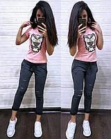 Женский костюм  футболка с совой и капри (3 цвета) пудра d2e8e6e9eae45