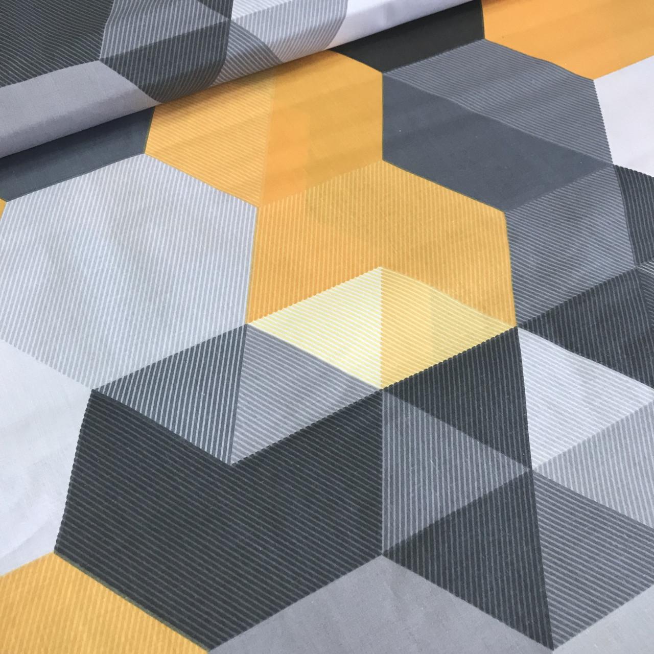 Хлопковая детская бязь польская треугольники и ромбы желтые, серые, черные