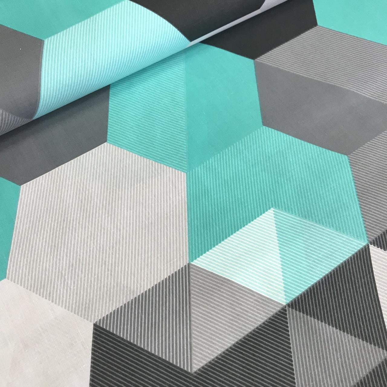 Хлопковая детская бязь польская треугольники и ромбы бирюзовые, серые, черные