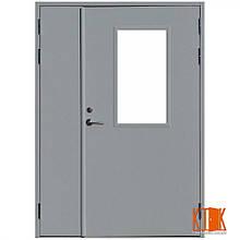Двери двуполые  металлические противопожарные остеклённые  ДМП ЕІ30 2100х1200