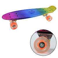 Скейтборд пенни светящийся, Скейт BT-YSB-0064, Блестящий скейт детский, Скейт для начинающих