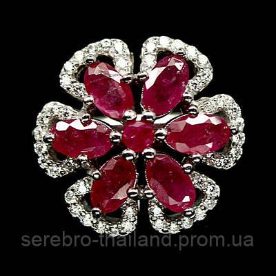 Серебряное кольцо 925 пробы с натуральным рубином Размер 17