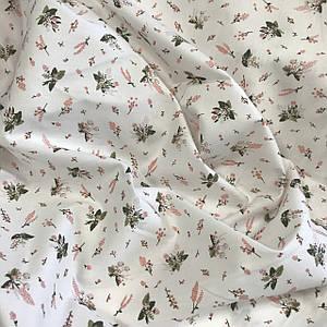 Хлопковая ткань САТИН маленькие цветочки на белом (КОРЕЯ)