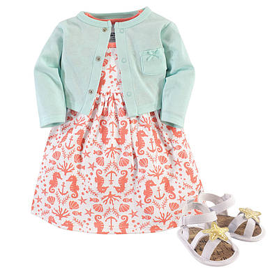 "Набор кардиган, платье и пинетки ""Море"" 3-6,6-9,9-12 мес. от Hudson Baby (США)"