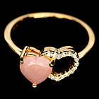 Серебряное позолоченное кольцо 925 пробы с натуральным розовым опалом Размер 17