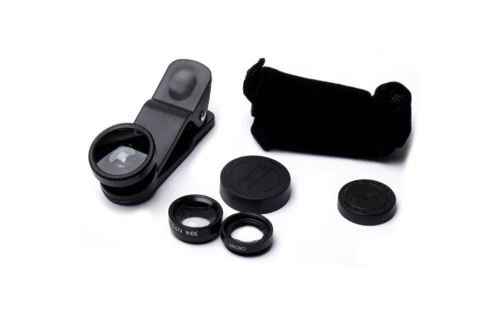 Набор линз для мобильного телефона Fisheye Wide Macro 3в1 Black