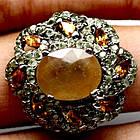 Серебряное кольцо 925 пробы с натуральным желтым сапфиром Размер 18
