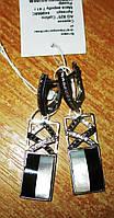 """Контрастные серебряные серьги с перламутром """"Черное и белое"""" от студии LadyStyle.Biz"""