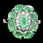 Серебряное кольцо 925 пробы с натуральным изумрудом Размер 17