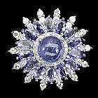 """Серебряное кольцо 925 пробы с натуральным танзанитом """"Полярная звезда"""" Размер 16"""