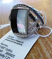 """Контрастное серебряное кольцо с перламутром """"Черное и белое"""", размер 18,5 от студии LadyStyle.Biz"""