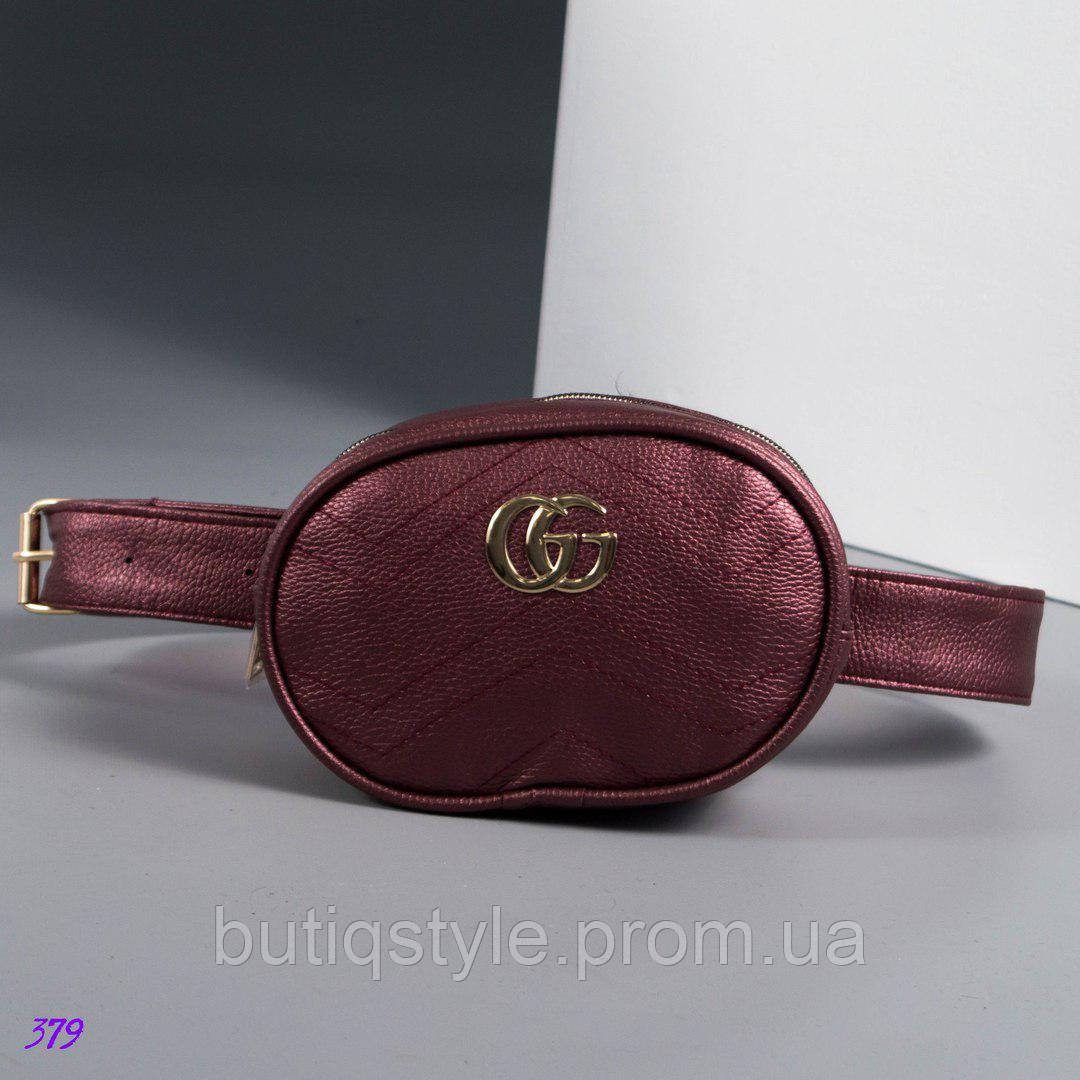 Женская сумка- бананка бордо,Кожа искусственная/велюр