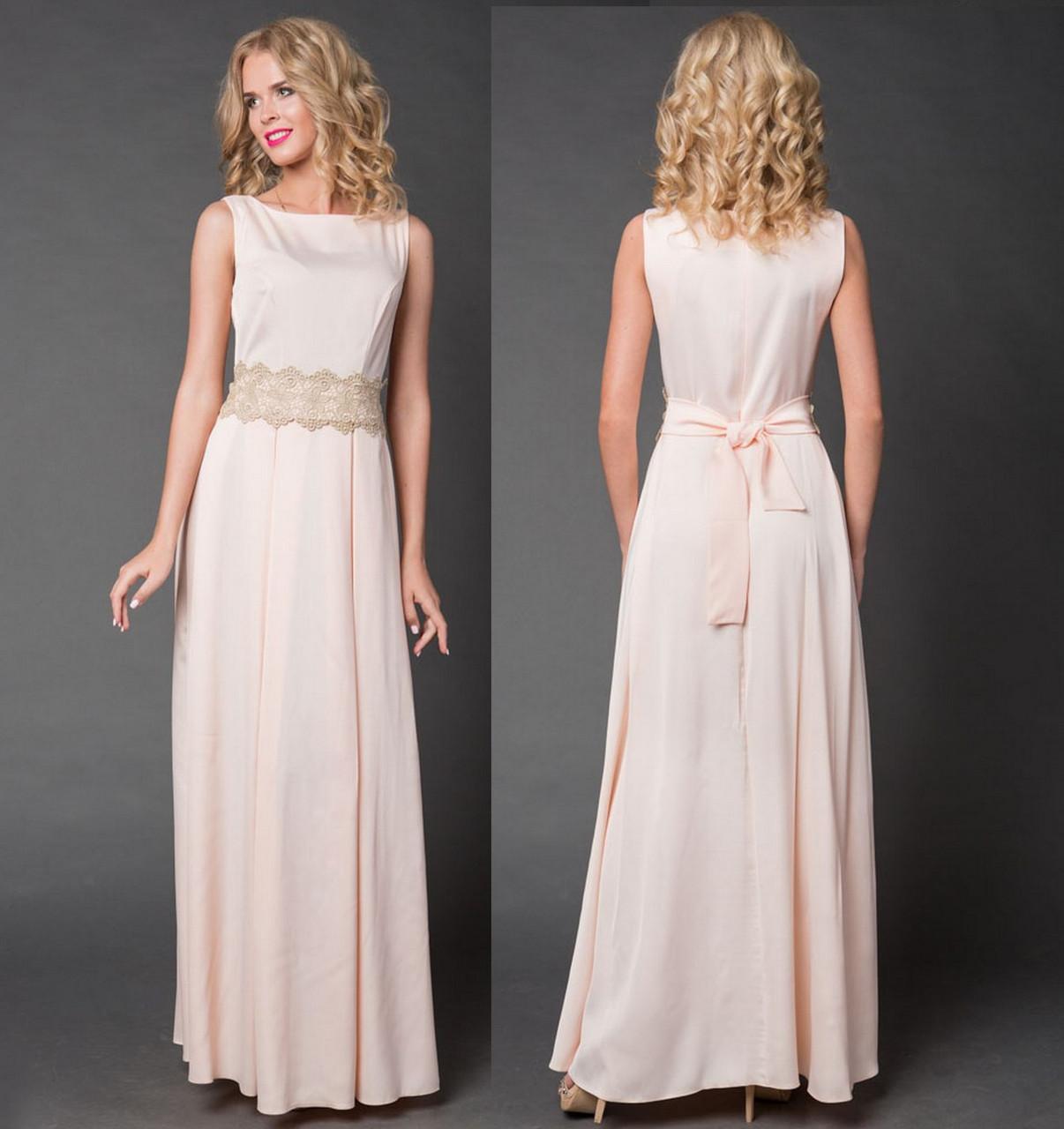 db9ec592b3e Платье длинное вечернее с кружевным поясом. Кремовое