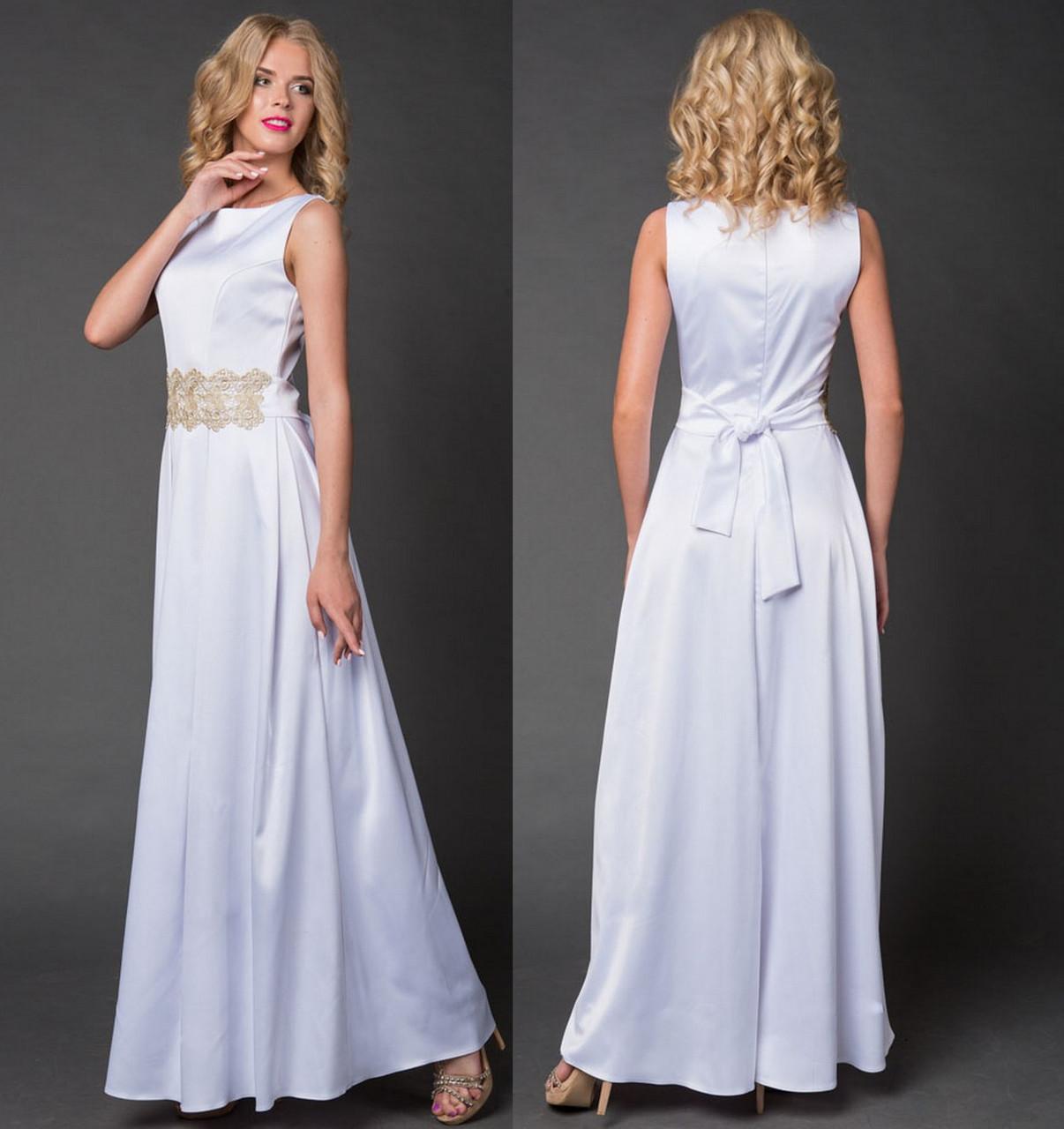 9dd4004b4436 Платье длинное вечернее с кружевным поясом. Белое,6 цветов. Р-ры  42 ...
