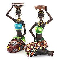 2Pcs смолы Фигурка Craft Подсвечник Африканский Женское Красота Леди Статуя Декоративное оборудование