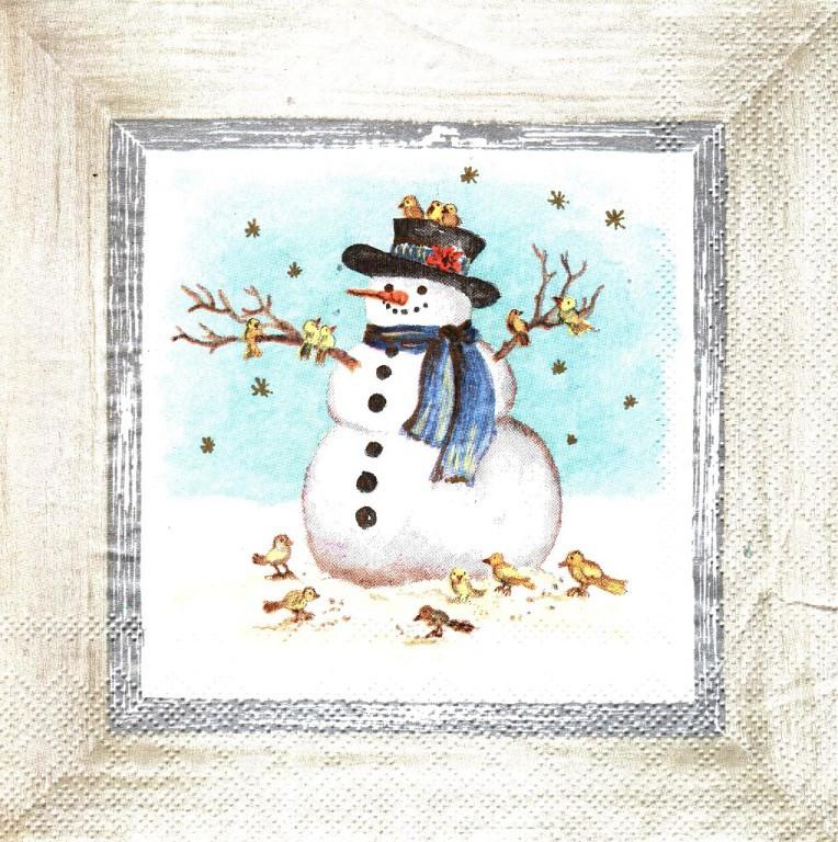 Декупажная салфетка Картина Снеговик 3801