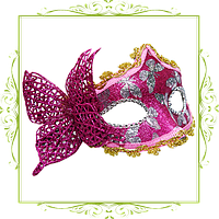Маска Венеция бабочки малиновая