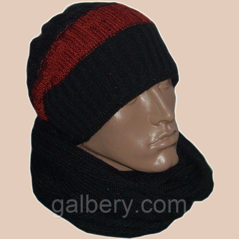 Мужская вязаная шапка - носок (утепленный вариант) и шарф - снуд
