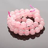 Бусины из натурального камня на нитке Розовый Кварц 8мм L-38см