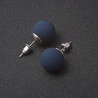 Серьги пуссеты шары синяя  Пудра хайтек 10 мм