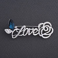 """Брошь """"Love с Розой"""" синий кристалл 6х3см цвет металла """"серебро"""""""