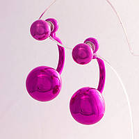 Серьги шары Диор скоба цвет малиновый металлик