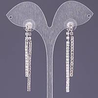 """Серьги стразовые белые длинные двойной каскад L-6см b-5мм цвет металла """"серебро"""""""